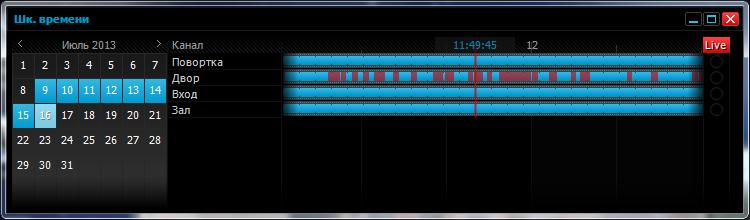 Вид шкалы времени основного окна центра управления СВН «Матрица»